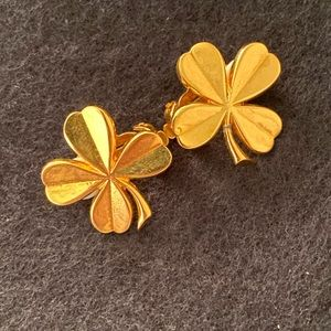 Chanel Four Leaf Clover Gold Plated Earrings